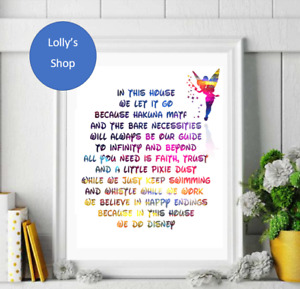 In This House We Do Disney - A4 / A5 Photo Frame Print, Gift, Home Decor