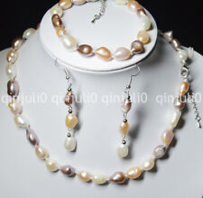 9-10mm Natural Multi-colored Freshwater Pearl Necklaces Bracelet Earring JN570
