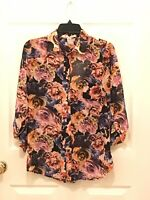 Women's American Rag CIE floral long sleeve cut out back blouse size XS