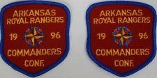 "Vintage Arkansas Royal Rangers 1996 Commanders Conf. 3"" patch. Lot of 2"