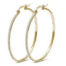 Yellow Gold Simulated Micro Pave Diamonds Sterling Silver Hoop Earrings - 50mm