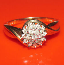 STUNNING SECONDHAD 9ct YELLOW GOLD 0.25 DIAMOND CLUSTER  RING SIZE K