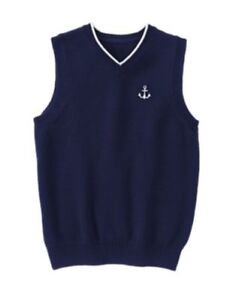GYMBOREE PICTURE DAY NAVY w/ ANCHOR SWEATER VEST 4 5 6 7 8 NWT