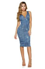 Symphony Womens Slim Fit Blue Denim Sweetheart Bodycon Midi Dress M Retail $59
