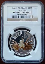 2009P Australia Silver 50 Cent Colorized Lion Fish NGC PF 69 Ultra Cameo!