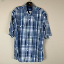 Wrangler Mens Short Sleeve Pearl Snap Western Shirt Blue Plaid Size LG MG3023M