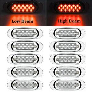 """10x 6.5"""" LED Side Marker Turn Signal Light For Peterbilt Mack Chrome 16 LED Red"""