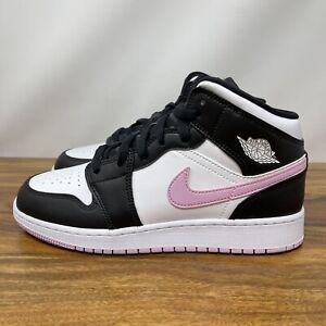 Nike Air Jordan 1 Mid Retro GS Size 7Y ARCTIC PINK White Black 555112-103