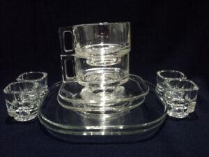MCM Joe Colombo Glass Coffee Tea Cups, Saucers, Plates & Egg Cups x 10 Pieces