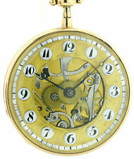 18k Gold skelettierte Spindeltaschenuhr mit Repetition um 1820, große 56mm, 123g