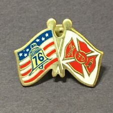 Vtg Spirit of 76 Double Flag Pin FD Fire Department Fire Fighter Tie Tack Lapel