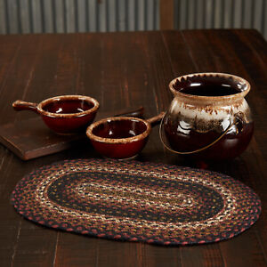 """VHC Brands Country 12""""x18"""" Placemat Red Beckham Textured Kitchen Table Decor"""
