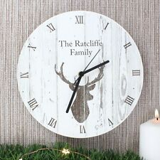 Personalised Highland Stag Shabby Chic Wooden Clock Anniversary Home