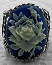 Blooming Rose Large Cameo .925 Sterling Silver Ring Blue