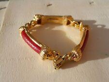 Pourchet bijou vintage couture  Bracelet métal doré tète de Lion - cuir rouge