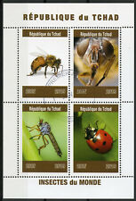Chad 2019 CTO Insects of World Bees Ladybirds Ladybugs 4v M/S Beetles Stamps