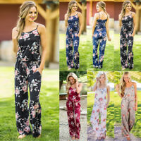 Boho Women's Floral Loose Holiday Pants Wide Leg Palazzo Jumpsuit Long Playsuits