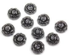 BORCHIE Rosa fiore 12mm Grigio canna fucile 10pz Hotfix termoadesive tessuto