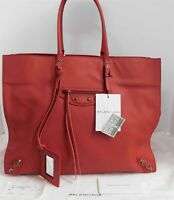 New Balenciaga Red Leather Papier A4 Tote Italy