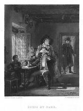 David Wilkie INDOVINARE IL MIO NOME-Originale Antico Inciso Stampa, ca.1845