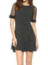 Rebecca Taylor 6 Black & White Polka Dot Dropwaist Lace Sleeve Inset Party Dress
