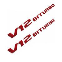 2x V12 BITURBO Rot 3D Nummer Briefe Emblem Aufkleber Logo Badge Auto Schriftzug
