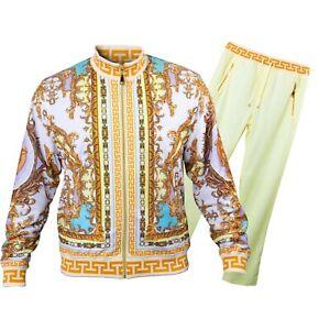 Prestige Yellow / White / Gold Medusa / Greek Design Tracksuit Outfit