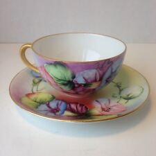 ANTIQUE  GERMAN HAND PAINTED PORCELAIN MORNING GLORIES DESIGN CUP AND SAUCER
