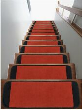 """Safe Steps Collection Non Slip Area Rug Stair Tread (13-Pack, Red/Black,9""""x26"""")"""