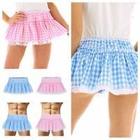 Sissy Mens Women Fancy Dress Elastic Waist Mini Short Gingham Pleated Skirts