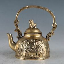 TIBET OLD BRASS CARVING OLD MAN PLAYS CHESS TEAPOT & COVER