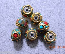 2x10x8mm Turquoise coral brass rondelle nepalese handmade beads combine post