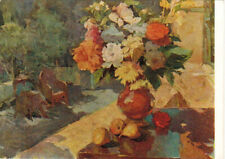 1956 VERY RARE Russian postcard FLOWERS VASE FRUITS by Soviet painter A.Gugel