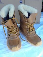 Vintage Womens Sorel Chugalug Tan Leather Lace up Winter Boots Canada Size 6