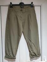Fab Asos Khaki Green Cropped Trousers, Roll up Leg, Size 10, VGC