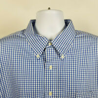 Brooks Brothers Classic Non Iron Blue Check Mens Dress Button Shirt Size 18.5-34