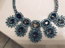 New Classy Custom Huge 891 ct Natural Zircon, Smoky Quartz Silver SS Necklace