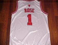 Derrick Rose 1 Chicago Bulls NBA adidas White Red Sewn Basketball Jersey 54