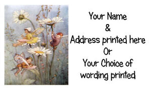 42 X Personalised Address Labels Stickers -  VINTAGE RETRO FAIRY SITTING DAISIES