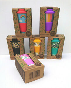 BAMBOO TRAVEL BEAKER Silicone Lid Clutch 400ml Live Lightly ECO COFFEE CUP Bees
