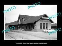 OLD LARGE HISTORIC PHOTO OF ZANESVILLE OHIO, THE RAILROAD DEPOT STATION c1960