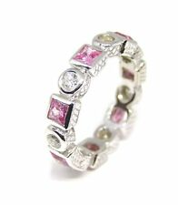 14 KT W/GOLD .50 CT DIAMOND AND SQUARE CUT PINK SAPPHIRE ETERNITY WEDDING BAND