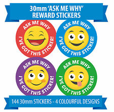 Smiley 'Ask Me Why' Stickers - 144 30mm Stickers - 4 Designs - Rewards, Praise