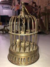 Vtg Brass Small Decorative Birdcage With Bird