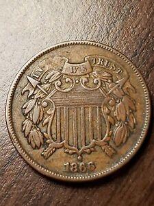 1866 2 Cent Piece XF