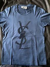 Yves Saint Laurent Short Sleeve Cotton Jersey t-shirt YSL Logo Printed Sz. M