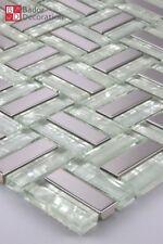 Mosaico de Cristal Azulejos mosaikglas VIDRIO ACERO INOX Blanco Plata 1m ²