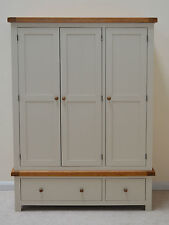 Painted Oak Three Door Solid Triple Wardrobe With Storage Drawers Croft