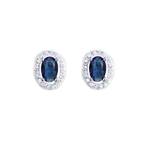 Sterling Silver Blue Halo Sapphire Colour CZ Stud Earrings Jewellery Boxed