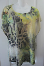 NWT Ladies Small Green Gray Top Shirt Abstract Lace Animal Print Dolman Sleeve